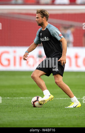 Leverkusen, Germany. 21st July, 2019. Soccer: Benefit soccer game 'Champions for Charity' in the BayArena. The former hockey player Moritz Fürste plays the ball. Credit: Marius Becker/dpa/Alamy Live News - Stock Photo