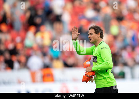 Leverkusen, Germany. 21st July, 2019. Soccer: Benefit soccer game 'Champions for Charity' in the BayArena. Football coach Jens Lehmann waves to the crowd. Credit: Marius Becker/dpa/Alamy Live News - Stock Photo