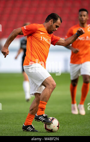 Leverkusen, Germany. 21st July, 2019. Soccer: Benefit soccer game 'Champions for Charity' in the BayArena. Former footballer Ulf Kirsten plays the ball. Credit: Marius Becker/dpa/Alamy Live News - Stock Photo