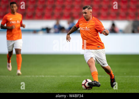 Leverkusen, Germany. 21st July, 2019. Soccer: Benefit soccer game 'Champions for Charity' in the BayArena. Musician Pietro Lombardi plays the ball. Credit: Marius Becker/dpa/Alamy Live News - Stock Photo