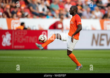 Leverkusen, Germany. 21st July, 2019. Soccer: Benefit soccer game 'Champions for Charity' in the BayArena. Former footballer Hans Sarpei plays the ball. Credit: Marius Becker/dpa/Alamy Live News - Stock Photo