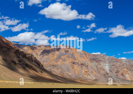 Himalayan mountain landscape along Leh to Manali highway in India. Majestic rocky mountains in Indian Himalayas, Ladakh, Jammu and Kashmir region, Ind - Stock Photo