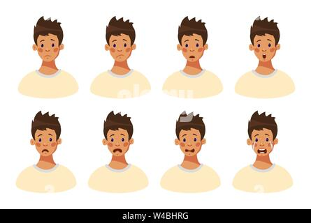 Set of 8 negative male emotions. Facial expression boy teenager. Head of a young guy with sad emotions on his face. Emotional intelligence. Avatar guy. Cartoon style, flat design vector illustration. - Stock Photo
