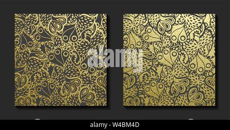 Golden floral ornament. Gold pattern. Vector illustration - Stock Photo