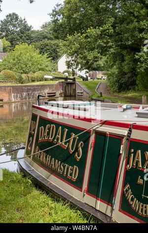 Narrowboat on the Stratford upon Avon canal near Lapworth, Warwickshire, England, UK - Stock Photo