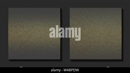 Golden shiny halftone effect pattern. Gold glitter dots texture. Christmas luxury background. Gradient ornament. Abstract design element. Vector illus - Stock Photo