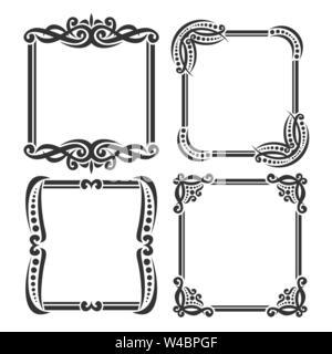 Vector set of decorative black frames - Stock Photo
