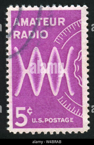 UNITED STATES - CIRCA 1900: stamp printed by United states, shows Radio Waves and Dial, circa 1900 - Stock Photo