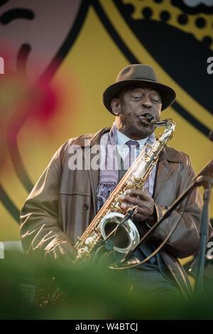 Pori, Finland. 18th July 2019. Jazz Legend Archie Shepp performing with his Quartet at Pori Jazz Festival. - Stock Photo