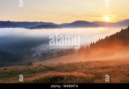 Misty sunrise with sun and forest, Mlynky, Slovakia - Stock Photo