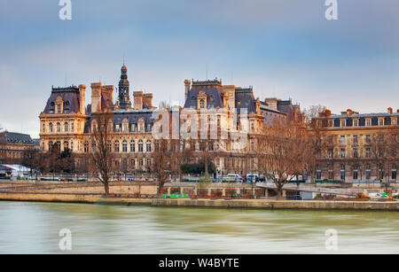 View of Hotel de Ville (City Hall) in Paris , France - Stock Photo