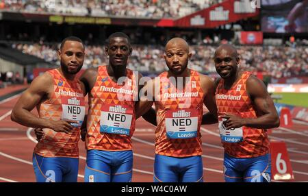London, UK. 21 July 2019. The Dutch mens 4 x 100m relay team after they finished 3rd and set a national record. Christopher Garcia, Taymir Burnet, Hensley Paulina and Churandy Martina (NED). Anniversary Games athletics. London stadium. Stratford. London. UK. Credit Garry Bowden/SIP photo agency/Alamy Live News. - Stock Photo