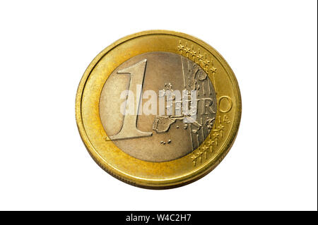 one Euro coin in detail isolated - Stock Photo