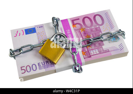 bundle of 500 Euro banknotes secured with chain and padlock - Stock Photo