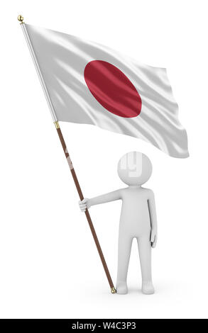 Japanese Patriot Stickman Holding National Flag of the Japan 3D Illustration On White Background - Stock Photo