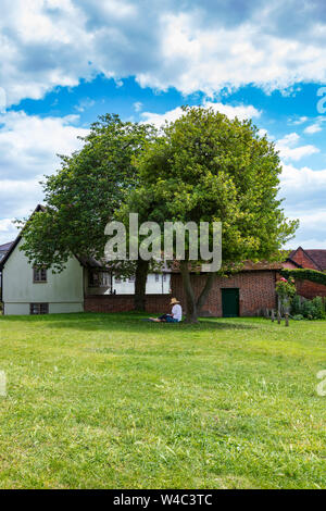 A lady in a straw hat  and white blouse sits under a tree for shade and reads, in St Marys Churchyard, Saffron Walden Essex, UK - Stock Photo