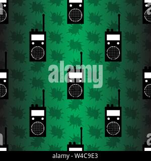 radio station on green background seamless vector pattern - Stock Photo