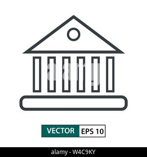 Bank, Home icon vector. Line style. Isolated on white background. Vector Illustration EPS 10 - Stock Photo
