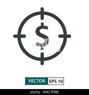 Target money icon vector. Line style. Isolated on white background. Vector Illustration EPS 10 - Stock Photo