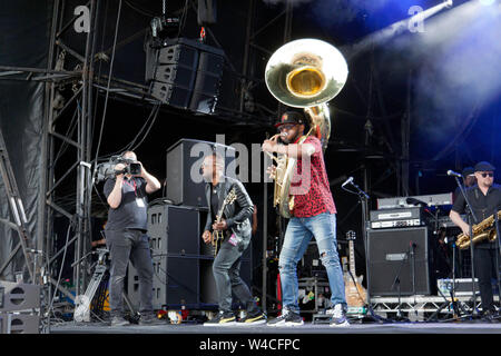 Tuba Gooding, Jr. (Damon Bryson) and Captain Kirk Douglas  performing with The Roots, on the main stage at the OnBlackheath Music Festival 2019 - Stock Photo