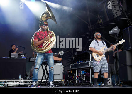 Tuba Gooding, Jr. (Damon Bryson) and Mark Kelley performing with The Roots, on the main stage at the OnBlackheath Music Festival 2019 - Stock Photo