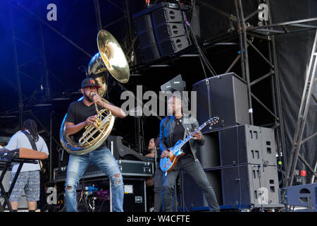 Captain' Kirk Douglas and Tuba Gooding, Jr. (Damon Bryson)performing with The Roots, on the main stage at the OnBlackheath Music Festival 2019 - Stock Photo
