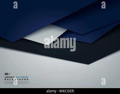 Abstract tech gradient blue overlap of business tone design. Use for tech post, print, ad, artwork, design element. illustration vector eps10 - Stock Photo