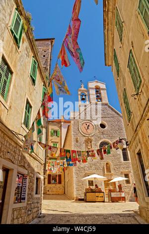 Street of Sibenik old town on the Dalmatian Coast of Croatia. - Stock Photo