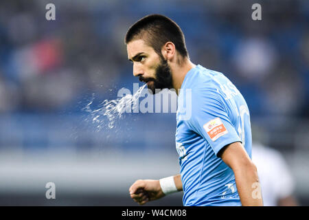 Belgian football player Yannick Ferreira Carrasco of Dalian Yifang F.C. at the 19th round of Chinese Football Association Super League (CSL) against Tianjin TEDA in Tianjin, China, 20 July 2019. The match ended with a tie 3-3. - Stock Photo