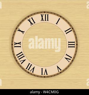 Clock face with roman numerals. On beige background - Stock Photo
