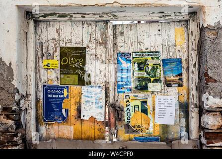 Notice Board in Skopelos Town, Northern Sporades Greece. - Stock Photo