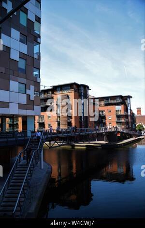 Bridge over canal in Birmingham city centre England UK - Stock Photo