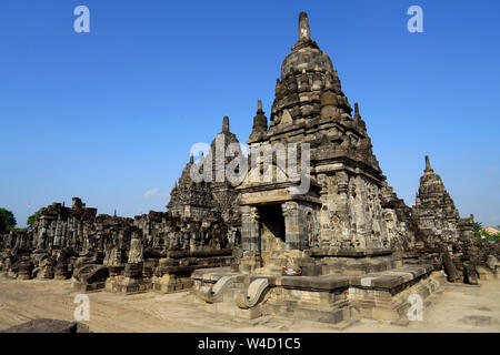 Sewu temple (thousand temple) is the second largest Buddhist temple complex in Indonesia after Borobudur - Stock Photo