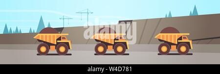 heavy yellow dumper trucks professional equipment working on coal mine production mining transport concept opencast stone quarry background flat - Stock Photo