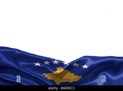 Kosovo flag isolated on white background with place for your text. - Stock Photo