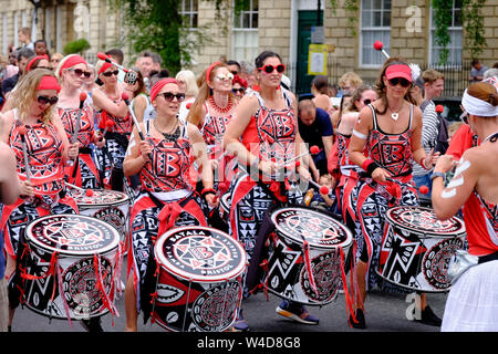 Bath, Somerset, UK, 13th July 2019. Crowds gathered to see the annual Bath Carnival. Over 1000 people performed in the procession which took over the - Stock Photo