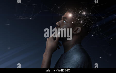 Thoughtful african man with illustration of brain activity process - Stock Photo
