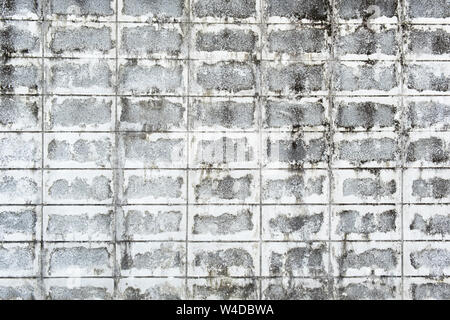Urban background, white ruined industrial concrete brick wall . - Stock Photo