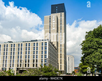 CARDIFF, WALES - JULY 2019: New stduent accommodation in Cardiff city centre operated by Zenith. - Stock Photo