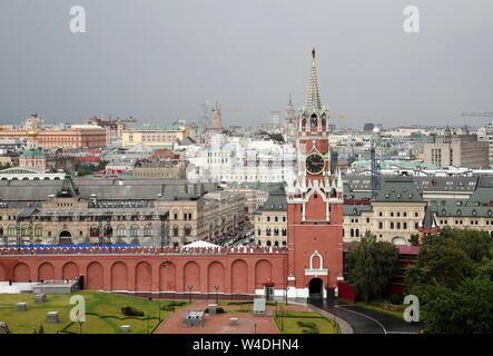 MOSCOW, RUSSIA - JULY 18, 2019: Spasskaya Tower of the Moscow Kremlin. Valery Sharifulin/TASS - Stock Photo