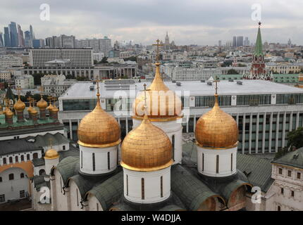 MOSCOW, RUSSIA - JULY 18, 2019: The Dormition (Uspensky) Cathedral in the Moscow Kremlin. Valery Sharifulin/TASS - Stock Photo