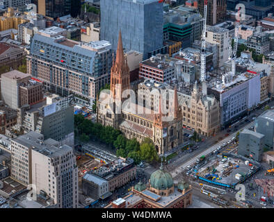 Aerial view of St Paul's Cathedral viewed from the Eureka Tower, Central Business District (CBD), Melbourne, Victoria, Australia - Stock Photo