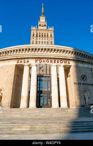 WARSAW, POLAND - JULY 18, 2019: Palace of Culture and Science in capital of Poland was constructed in 1955 and since 2007 it has been enlisted in the - Stock Photo