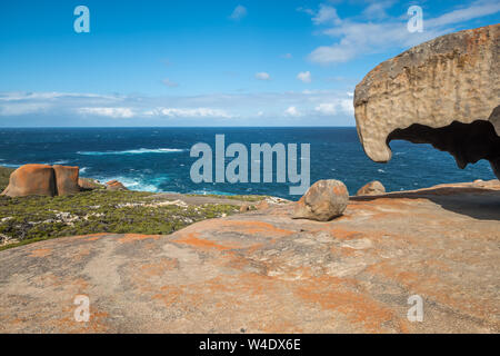 Unusual view of the Remarkable Rocks, Kangaroo Island, South Australia.  One rock appears to have eroded from underneath providing views to the ocean - Stock Photo