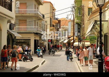 Rethymno, Crete island / Greece - May 28 2019: Charming old town Rethymno in Crete in Greece - Stock Photo