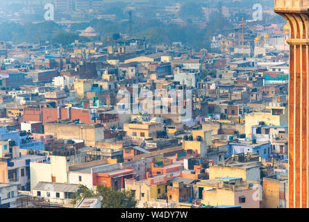 NEW DELHI - FEB 24: Panoramic view of the old part of Delhi or New Delhi on February 24. 2018 in India - Stock Photo