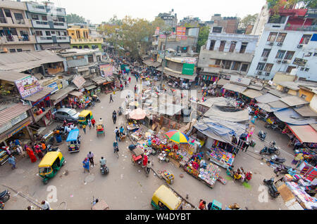 NEW DELHI - FEB 23: Panoramic view of Main Bazar district in New Delhi on February 23. 3018 in India - Stock Photo