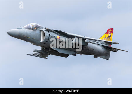 Spanish Navy EAV-8B Harrier II jump jet plane at Royal International Air Tattoo airshow, RAF Fairford, Cotswolds, UK. Flying. Space for copy - Stock Photo