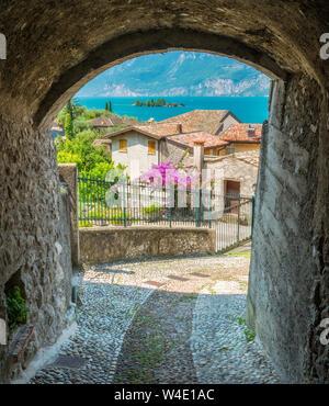 Idyllic view at Cassone di Malcesine, beautiful village on Lake Garda. Veneto, Province of Verona, Italy. - Stock Photo