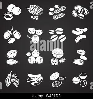Nuts related icons set on background for graphic and web design. Simple illustration. Internet concept symbol for website button or mobile app. - Stock Photo